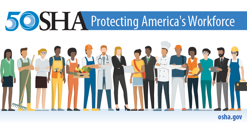 """Illustration of a diverse group of workers with the text """"OSHA 50: Protecting America's Workforce."""""""