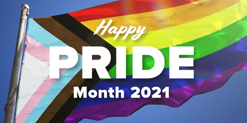 """Trans-inclusive Pride flag with the text """"Happy Pride Month 2021"""""""