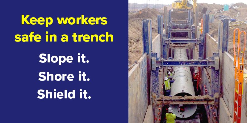 Photo of a trench with the text: Keep workers safe in a trench. Slope it. Shore it. Shield it.