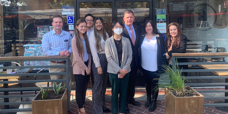 Secretary Walsh with Hang Nguyen and other staff