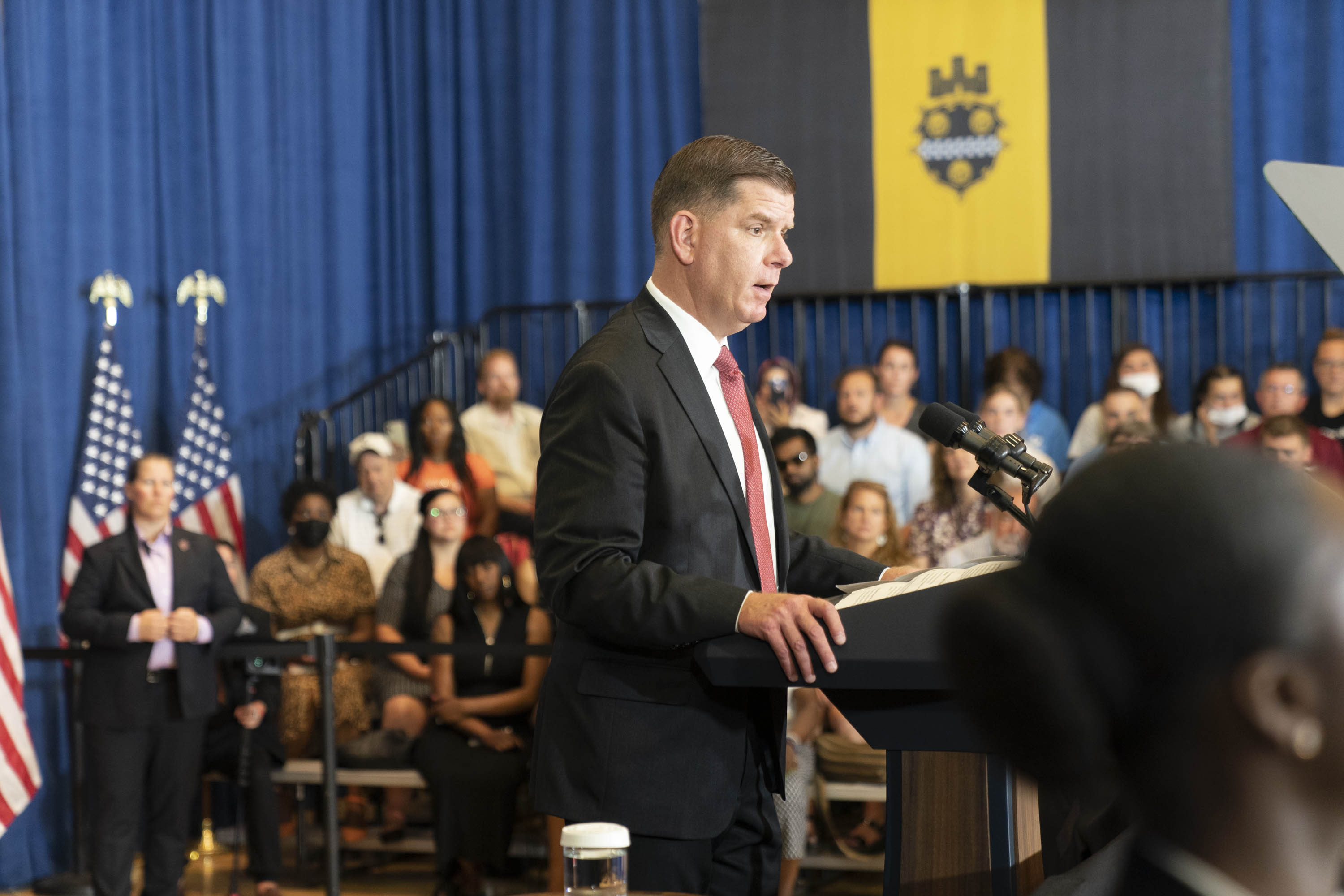 Secretary Marty Walsh speaks to a crowd in Pittsburgh